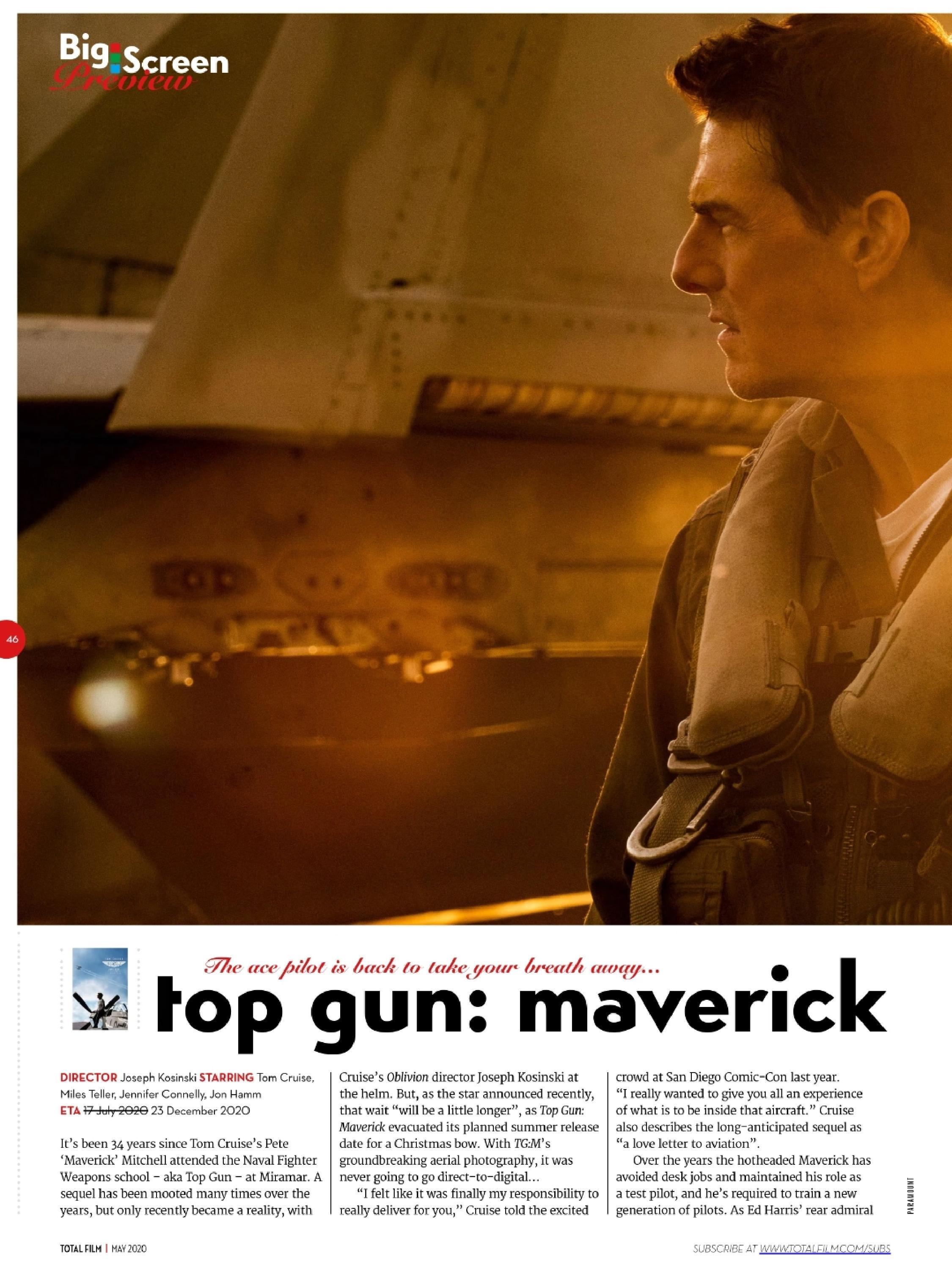 Tom Cruise on Total Film Magazine May 2020 Top Gun Maverick